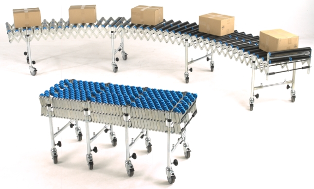 Flexible expanding roller conveyor