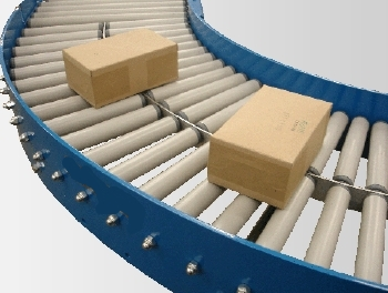 Gravity roller conveyor bend